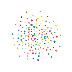 Dense watercolor confetti on white background. Rainbow colored watercolor confetti sphere. Colorful hand painted illustration.