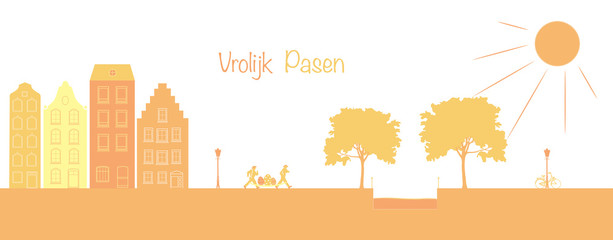 Vrolijk Pasen. Dutch Easter landscape with houses, running people, eggs and a canal. Orange shade. Words : Happy Easter (in Dutch).
