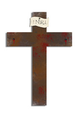 Cross of Jesus Christ, Easter or Good Friday illustration with textured bloody cross with nails, and copy space for text.
