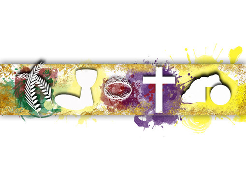 Holy week, Passion and Resurrection of Jesus Christ. Modern abstract artistic background with copy space for text.