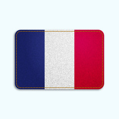 National flag of France with denim texture and orange seam. Realistic image of a tissue made in vector illustration.
