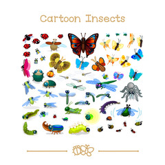 Cartoon animals collection toons: insects SET 1