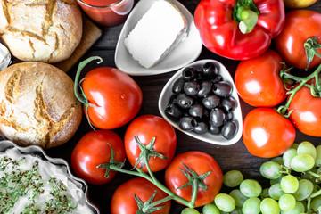 Healthy breakfast ingredients of vegetarian food, fruits and vegetables, flat lay