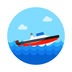 Speed boat icon. Summer. Vacation