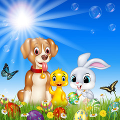 Cartoon funny animals with nature Easter background