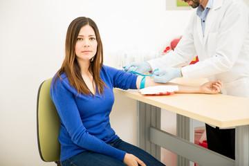 Nervous patient getting a blood test