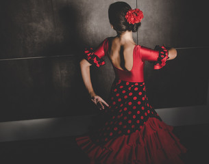 young hispanic flamenco dancer  while dancing