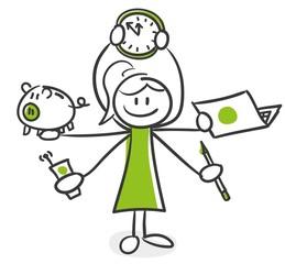 Stick Figure Series Green Woman / Multitasking