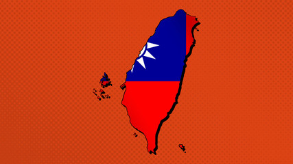 Flag map of Taiwan (Republic of China). Pop art style.