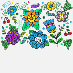 geometric flowers border on  color background drawing