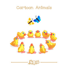 Toons series cartoon animals: little yellow ducklings