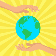 Human hands holding floating globe in space. Flat style vector