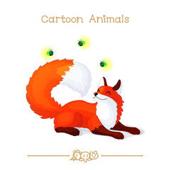 Toons series cartoon animals: red foxes and fireflies