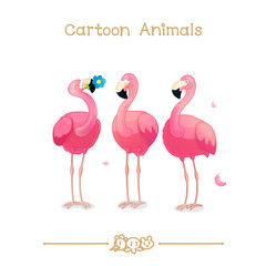 Toons series cartoon animals: pink flamingos