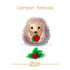 Toons series cartoon animals: hedgehog and holly berry leaves