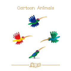 Toons series cartoon animals: colibris