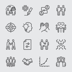 Business partnership line icon