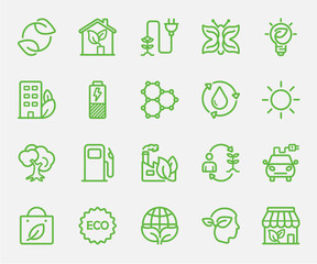 Ecology set line icon
