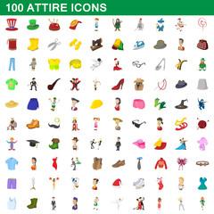 100 attire icons set, cartoon style