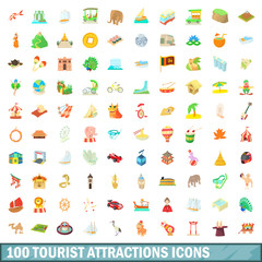 100 tourist attraction icons set, cartoon style