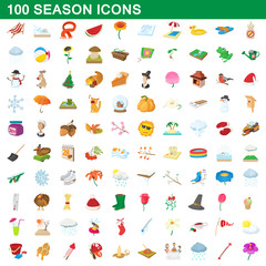 100 seasons icons set, cartoon style