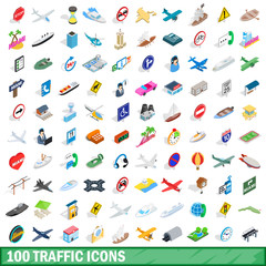 100 traffic icons set, isometric 3d style