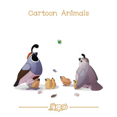 Toons series cartoon animals: california quails family