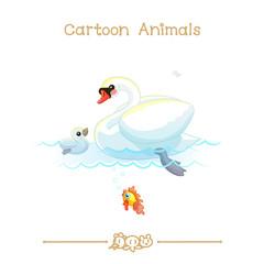 Toons series cartoon animals: white mute swans