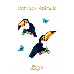 Toons series cartoon animals: toco toucans on branch