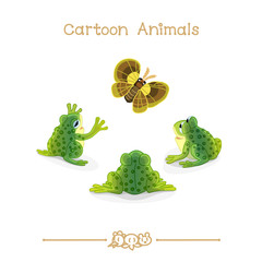 Toons series cartoon animals: toads and green butterfly