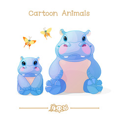 Toons series cartoon animals: hippos family