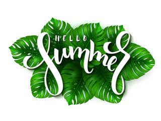 vector illustration of hand lettering - hello summer on a background of monstera leaves