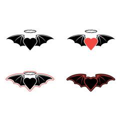 Черное сердце с крыльями летучей мыши