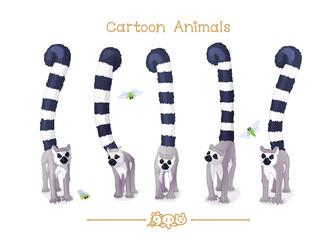Toons series cartoon animals: funny lemurs