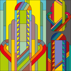 Art deco vector colored geometric pattern. Art deco stained glass pattern. Abstract pattern.