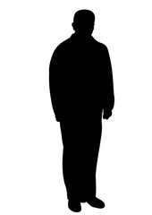 Vector, isolated silhouette man calmly stands, black