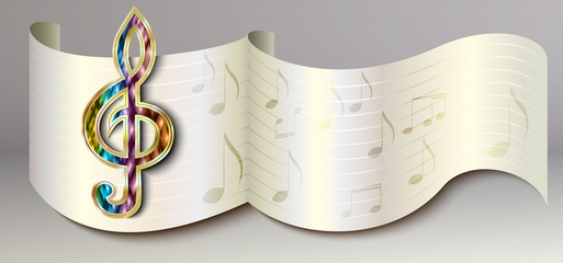 White paper music icon, banner, background
