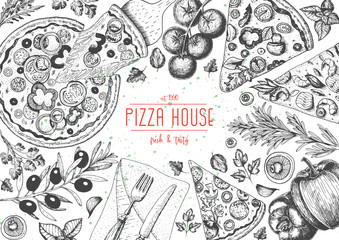 Italian pizza top view frame. Italian food menu design template. Vintage hand drawn sketch vector illustration. Engraved style