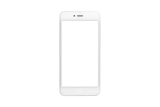 White smartphone with blank screen on isolated white background