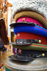 Military caps of the USSR era in rarities store