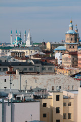 Old city, temple, mosque and tower. Kazan, Russia
