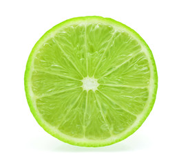 Juicy slice of lime isolated on white, with clipping path