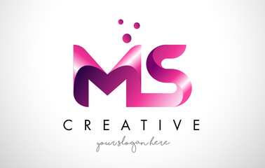 MS Letter Logo Design with Purple Colors and Dots
