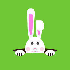 Easter rabbit / bunny hiding in a hole. Isolated vector illustration.