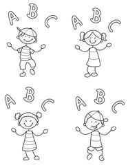 Vier Strichmännchen Kinder jonglieren mit Buchstaben Vektor Illustration