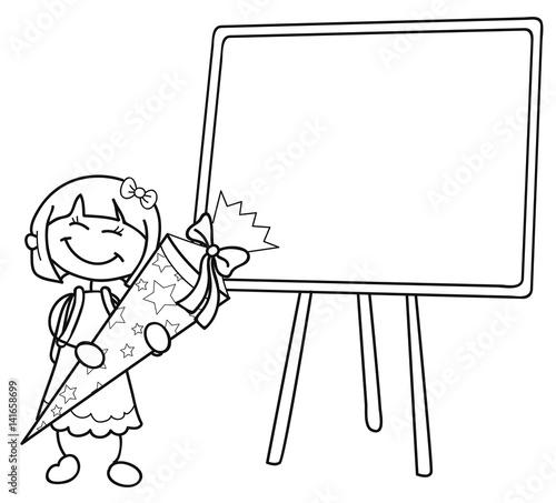 Mädchen Mit Schultüte Vor Einer Leeren Tafel Vektor Illustration