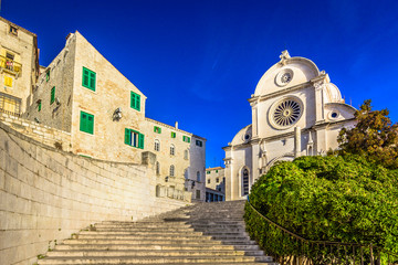 Old cathedral Sibenik town. / Scenic colorful view at cathedral in summer travel destination in Croatia, Sibenik town. Wall mural