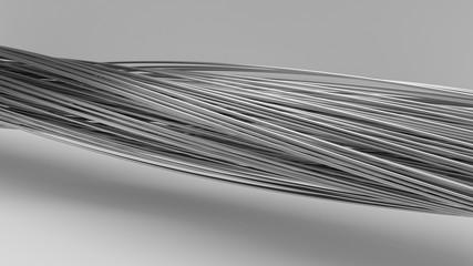 3d illustration of twisting metal rods.