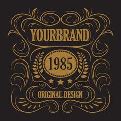 Antique label, vintage frame design, retro logo.