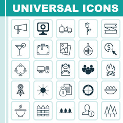 Set Of 25 Universal Editable Icons. Can Be Used For Web, Mobile And App Design. Includes Elements Such As PC, Wireless Router, Bullhorn And Mo